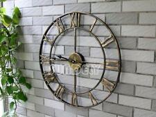Golden Large Metal Wall Clock Vintage Business Office Home Bar Hotel Decoration