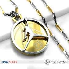 Stainless Steel Jordan # 23 JUMPMAN Logo Pendant Stick Necklace Silver Gold F13