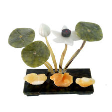 Feng shui Natural Jade stone Lotus Plant W Pair Mandarin Ducks- Love J2086