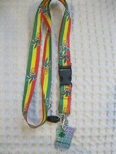 "Rasta Stripes with Potted Marijuana Weed 15"" Lanyard/Landyard ID Holder Keychain"