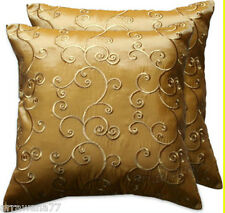 2 Thai Silk Decorative Pillow Cushion Cover Throw FS Gold