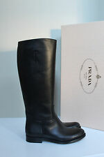 New sz 9 / 39.5 Prada Pull On Riding Black Leather Knee High Flat Boot Shoes