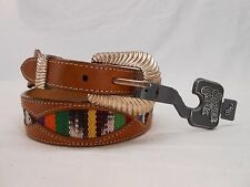 Mens Silver Creek Vintage Genuine Woven Western Leather Belt Brown 26 NWT #31