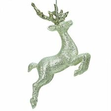 Gisela Graham Silver & Gold Glitter Leaping Reindeer Christmas Decoration 14377