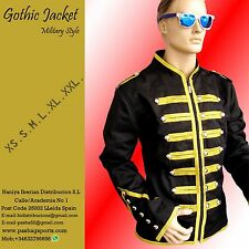 Men's Handmade Black & Golden Parade Military Marching Band Drummer Jacket