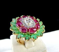 COLLECTOR FINE ROSECUT DIAMOND RUBY CABOCHON EMERALD LEAVES 18K GOLD LADIES RING