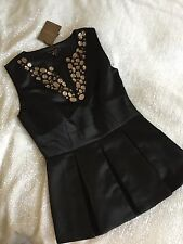 Ted Baker Black Peplum Top With Bronze Jewels - Size 2 UK 10 BNWT
