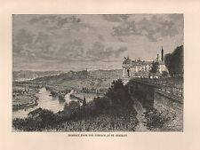 1885 Ca ANTIQUE PRINT ELISEE RECLUS : PROSPECT FROM TERRACE AT ST GERMAIN FRANCE