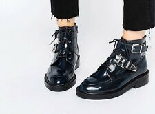 Asos Abe Leather Ankle Boots Brand New Size 4 Navy