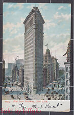 Flat Iron Building New York 1907 postcard Postmarked on 4th July