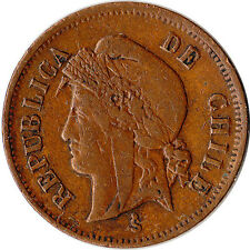 1895 Chile 1 Centavo Coin KM#146a Mintage 449,000