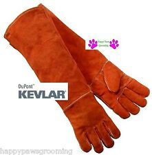 "Long Arm 23"" GAUNTLET LEATHER Kevlar DOG CAT BIRD FERRET Animal Handling Gloves"