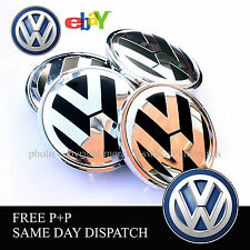 NEW 2016 VOLKSWAGEN BLACK CHROME ALLOY WHEEL CENTER CAPS x4 BADGE GOLF BORA 65MM