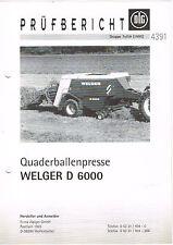 Welger Quaderballenpresse D 6000, orig. DLG- Bericht 1995