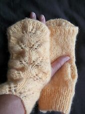 Hand knitted wrist warmers/fingerless gloves, mohair blend, soft yellow