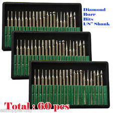 "60 Pcs Diamond Burr Bits For Dremel Craftsman Rotary Tool 1/8"" Shanks w/ Box Tip"