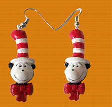 Funky CAT-in-the-HAT HEAD EARRINGS Dr Seuss Character Charm Fun Costume Jewelry