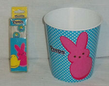 "Peeps Ear Buds Earphones And Small Bucket 4.75"" Both NEW Unused"