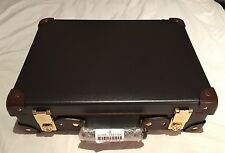 "New $1,850 Globe-Trotter 16"" Attache w/ Leather Portfolio Case - Brown"