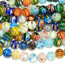 """G4251L2 Assorted Color Multi-Flower Millefiori 12mm Round Glass (30 Beads) 13"""""""