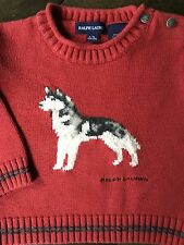 Ralph Lauren Polo Sweater size 12 18 months Husked Dog Baby Boys Red