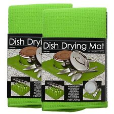 S&T Microfiber Dish Drying Mat, 16 x 18-Inch, Lime Green - 2 Pack