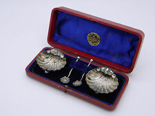 Boxed Pair of Victorian Solid Silver Shell Salt Cellars & Spoons 1897 Birmingham