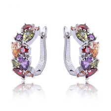 NiX 1486 High Quality Colorful Zircon AD Stud Earrings Silver Color Gift Women
