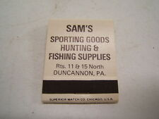 Sam's Sporting Goods Duncannon Perry County PA Racy Matchbook Cover Mint RW