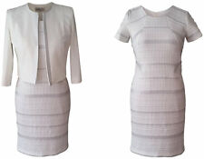 SILVER & IVORY MOTHER OF THE BRIDE 2 PIECE OUTFIT JACKET DRESS WEDDING SIZE 14