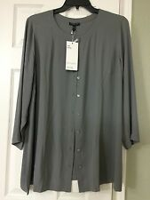 1X EILEEN FISHER The Icons The Long Shirt Smoke Silk Georgette Crepe Round Neck