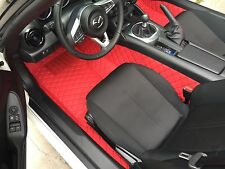 Quilted Leather Floor mats for Mazda Miata MX-5 ND Mk4 Red on Red
