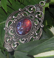 sale MEXICAN FIRE OPAL RED PURPLE LARGE VICTORIAN SILVER SETTING DRAGONS BREATH
