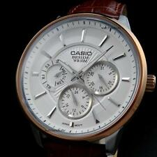 CASIO BESIDE, BEM302L-7A BEM-302L-7A, WHITE FACE, BROWN GENUINE LEATHER BAND