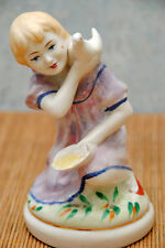 60s Russian Porcelain Soviet Figurine Polonsky ZHK - Girl with Dove -