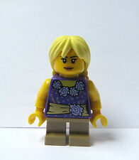 Lego Female Girl Minifigure Figure Purple Top Short Tan Legs Blonde Pigtail Hair