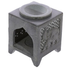 NEW 2 PCE BOXED SOAPSTONE OIL BURNER ELEPHANT ETCHED DESIGN SOB13