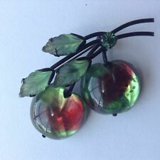 VINTAGE AUSTRIA SIGNED MOLDED CHERRY FRUIT RHINESTONE BROOCH P81