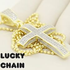 """24""""925 STERLING SILVER MOON CUT CHAIN NECKLACE ICED OUT CROSS PENDANT 18g IB36"""