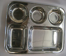 STAINLESS STEEL INDIAN THALI DISH FOOD TRAY DINNER PLATE 5 COMPARTMENT