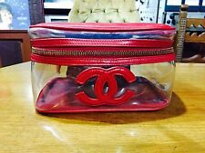 CHANEL Red And Transparent Vanity Cosmetic Case Bag Handbag Super Cute And Rare!