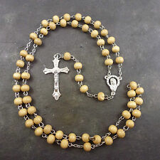 Medium Brown wood round beaded rosary beads 55cm silver center men or women long