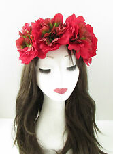 Large Red Rose Flower Headband Festival Oversized Hair Crown Elasticated Vtg A93