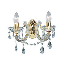 SEARCHLIGHT MARIE THERESE 2 LIGHTS BRASS CRYSTAL WALL BRACKET CHANDELIER LIGHT