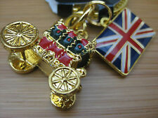 HARRODS LONDON 3D QUEENS Stage Coach Carriage Keyring UK KEY RING FOB CHAIN