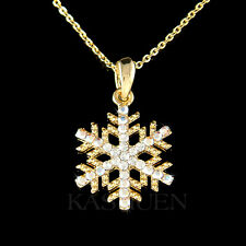 w Swarovski Crystal ~SNOWFLAKE~ Snow Xmas Holiday Gold Tone Necklace Jewelry New