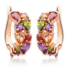 Fashion Women Gold Crystal Colorful Rhinestone Hoop Huggies Ear Stud Earrings