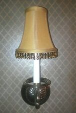 PALE GOLD SILK FABRIC BEADED MINI CHANDELIER SCONCE SHADE