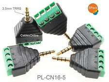"""5-Pack 3.5mm 1/8"""" TRRS Male Jack to AV 3-Screw Terminal Block Balun Connector"""