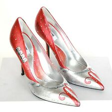 MOSCHINO MILANO COUTURE $695 silver red metallic cola pumps heels shoes 39/9 NEW